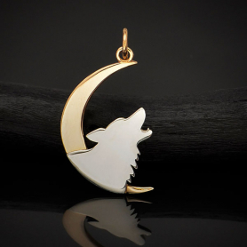Sterling Silver Howling Wolf Charm with Bronze Moon