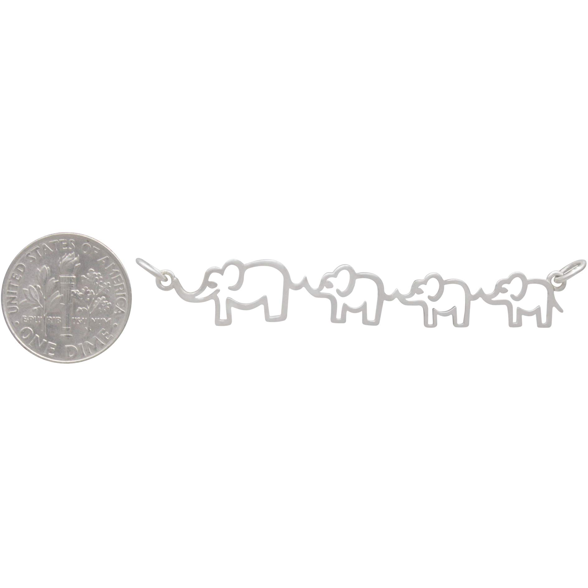 Sterling Silver Mama and Three Baby Elephant Pendant 12x55mm