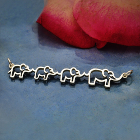 Sterling Silver Mama and Three Baby Elephant Pendant