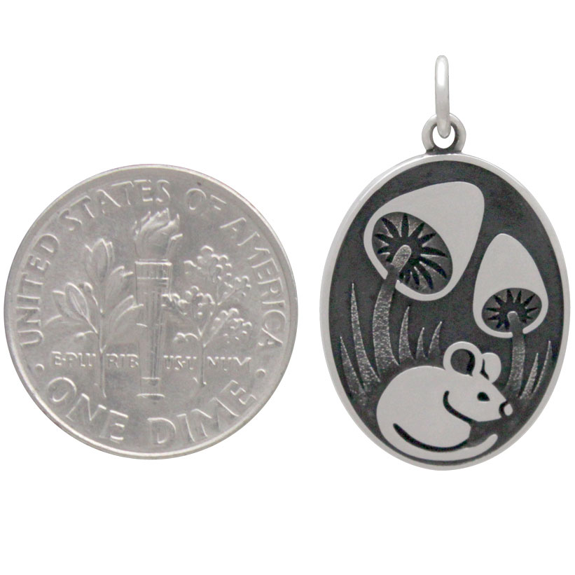 Sterling Silver Silver Mouse Pendant with Mushrooms 26x15mm