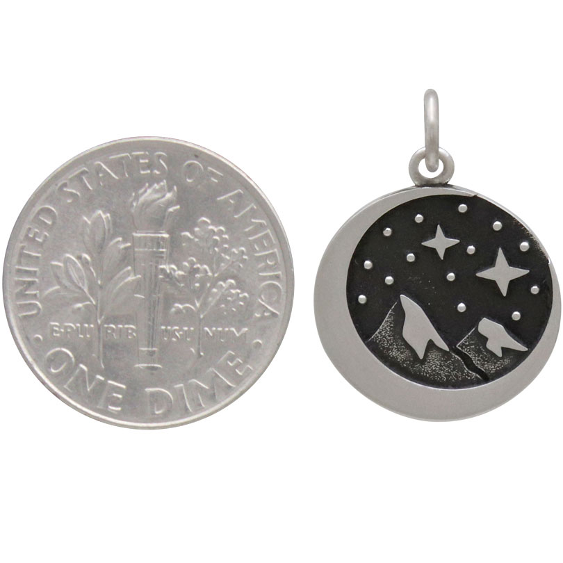 Sterling Silver Snow Cap Mountain Charm with Moon 21x15mm