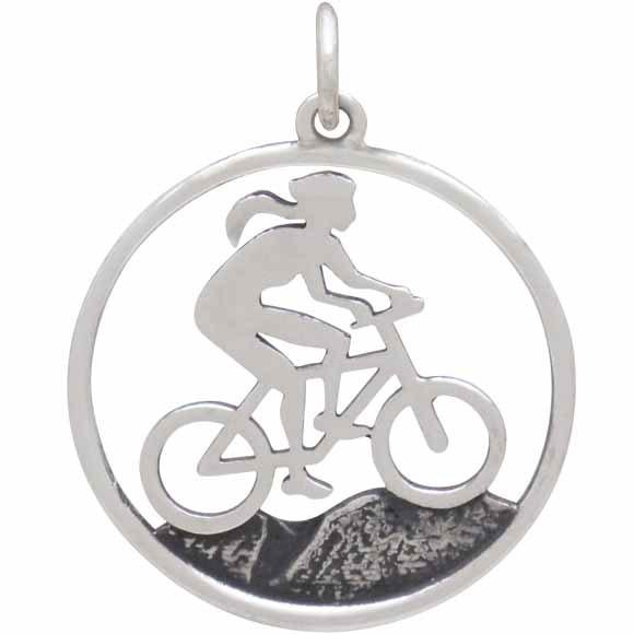Sterling Silver Mountain Biker Girl Charm 26x20mm