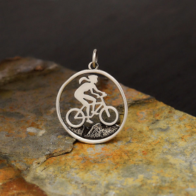 Sterling Silver Mountain Biker Girl Charm 26x20mm