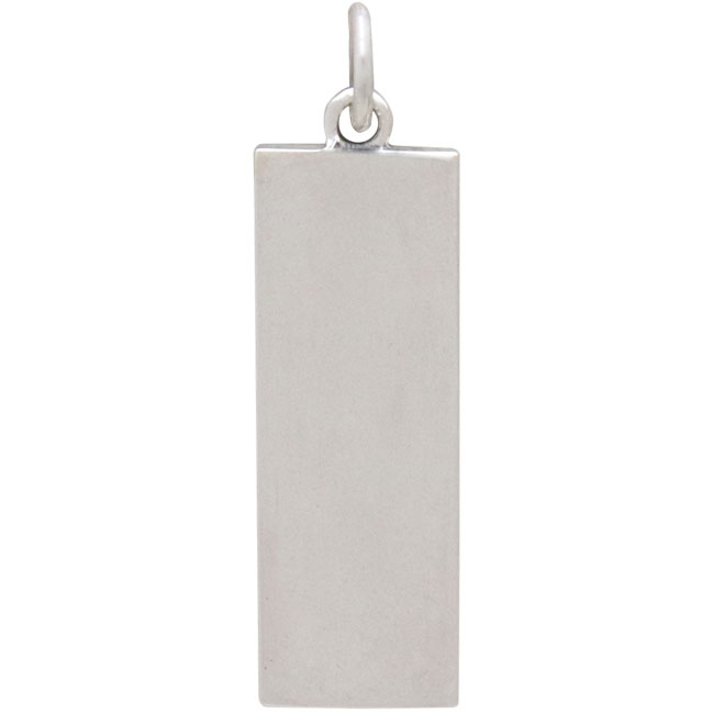 Sterling Silver Rectangle Camping Charm with Tent 28x8mm