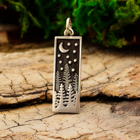 Sterling Silver Rectangle Pine Tree Charm with Moon 28x8mm