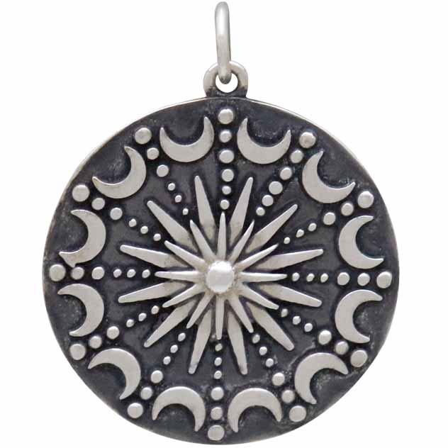 Sterling Silver Sun and Moon Mandala Pendant 28x22mm