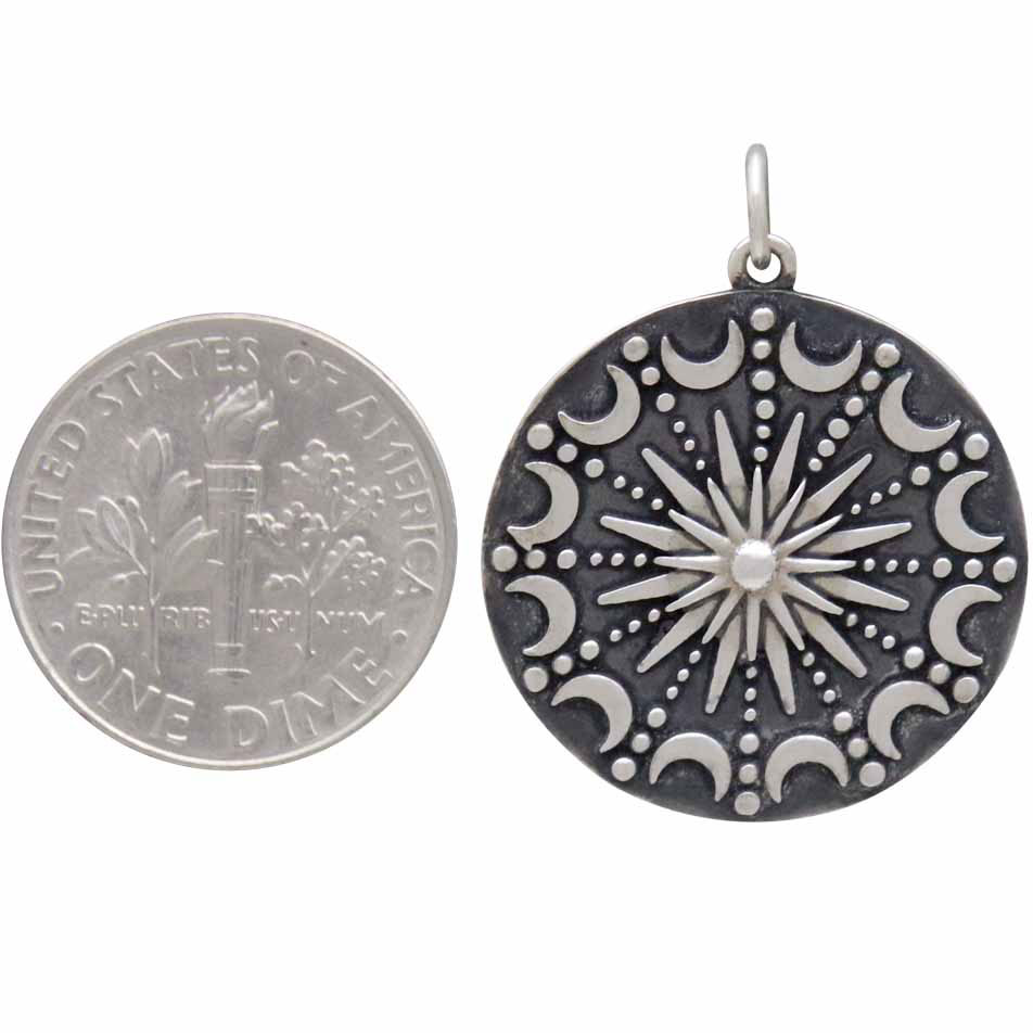 Sterling Silver Sun and Moon Mandala Pendant 28x22mm