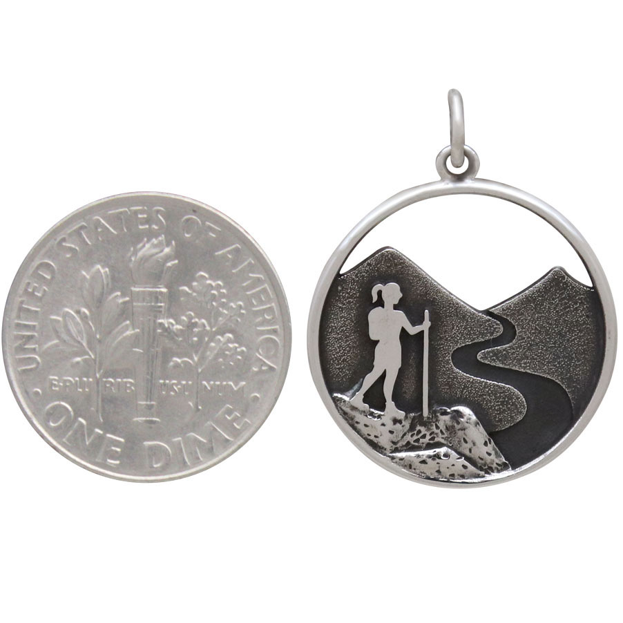 Sterling Silver Hiking Girl Charm 25x19mm
