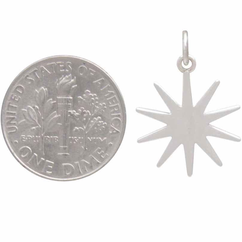 Sterling Silver Sun Charm 22x16mm