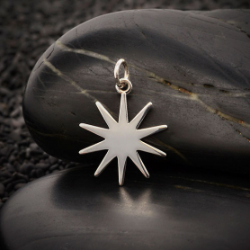Sterling Silver Sun Charm 22x16mm