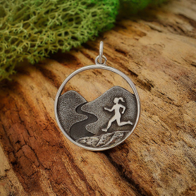 Sterling Silver Trail Running Girl Charm 25x19mm