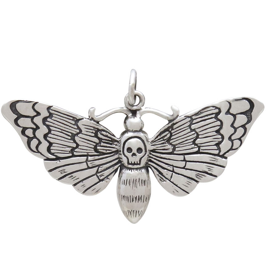 Sterling Silver Death Heads Moth Pendant 22x36mm