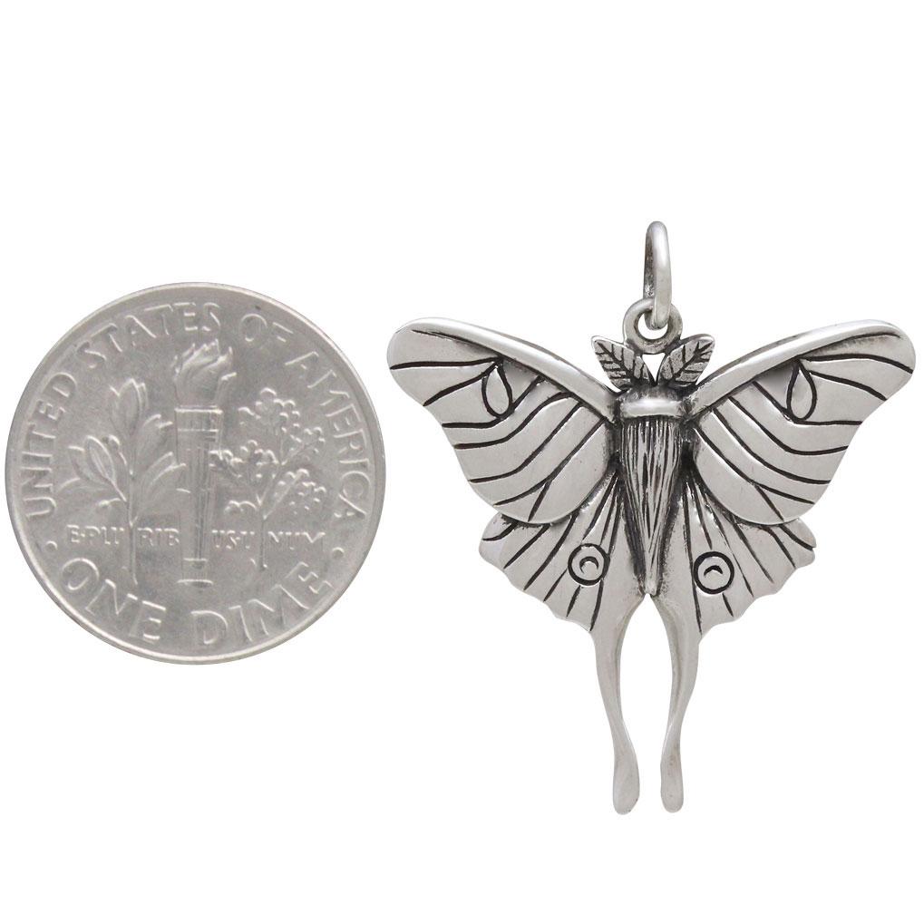 Sterling Silver Luna Moth Pendant 28x24mm