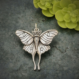 Sterling Silver Luna Moth Pendant 28x24mm