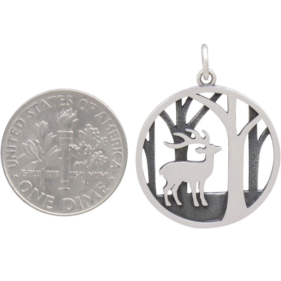 Sterling Silver Deer Charm with Trees 26x20mm