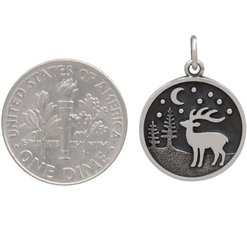 Sterling Silver Reindeer Charm with Moon and Trees 21x15mm