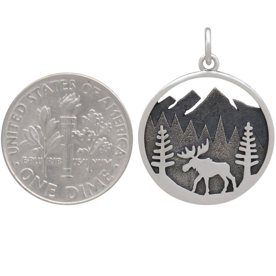 Sterling Silver Moose Charm in Mountain Meadow 24x18mm