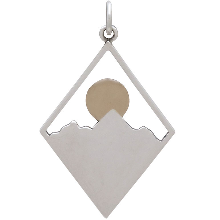 Sterling Silver Mountain Charm in Diamond Frame 33x20mm