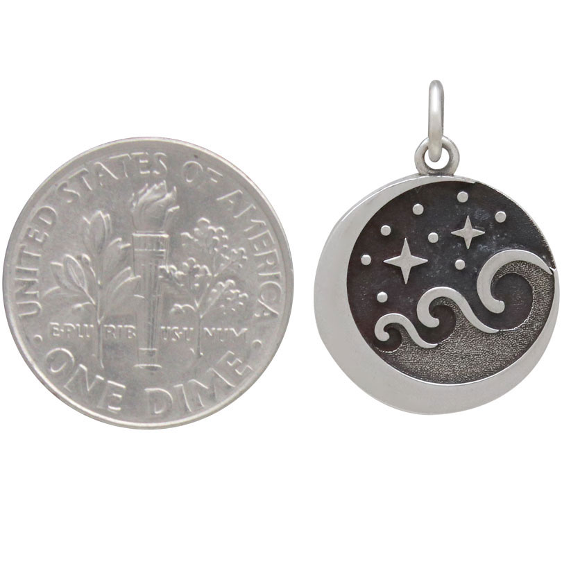 Sterling Silver Starry Night Wave Charm 21x15mm