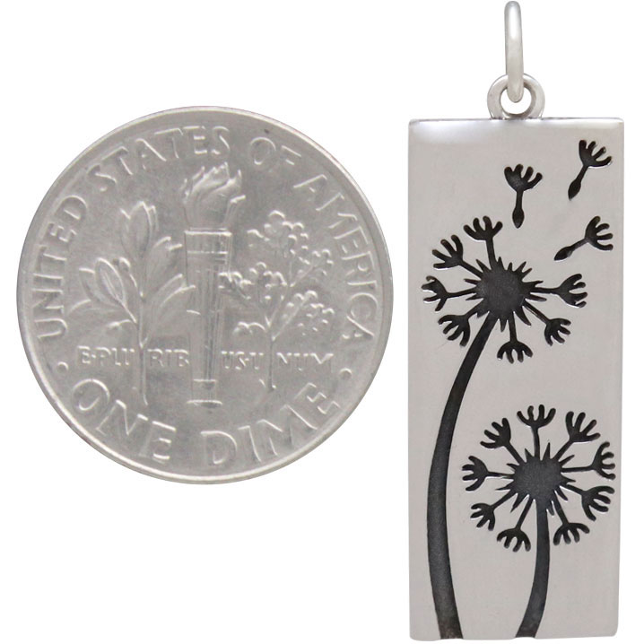 Sterling Siver Dandelion Pendant Long Rectangle 31x10mm