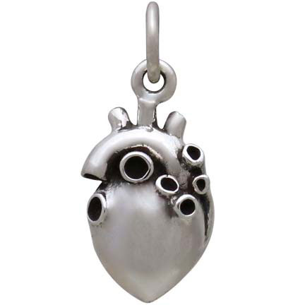 Sterling Silver Small 3D Anatomical Heart Charm 18x8mm