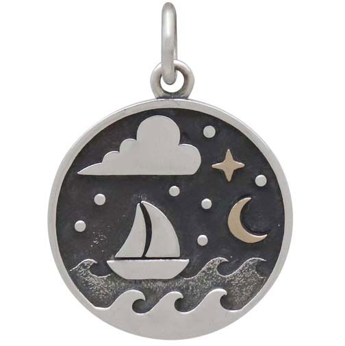Silver Sailboat Charm with Bronze Star and Moon 21x15mm