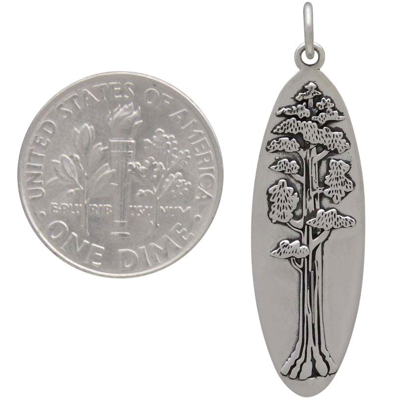 Sterling Silver Oval Sequoia Tree Pendant 35x10mm