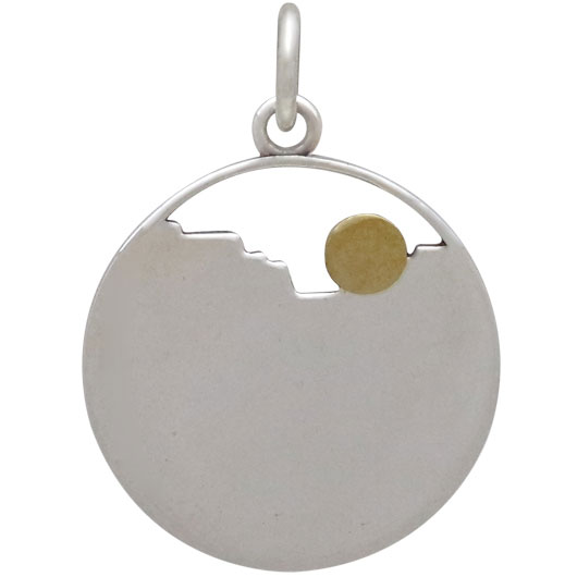 Sterling Silver Layer Canyon Charm with Bronze Sun 22x16mm