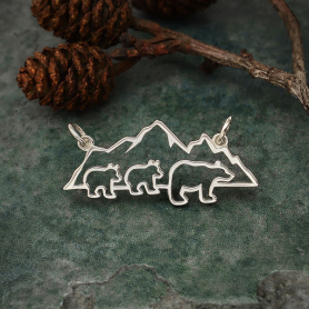 Sterling Silver Mama and 2 Baby Bear Pendant Festoon 32x14mm