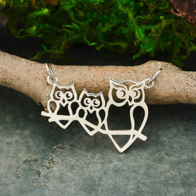 Sterling Silver Mama and 2 Baby Owl Pendant Festoon 22x26mm