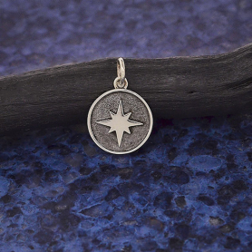 Sterling Silver North Star Charm in Shadow Box 17x12mm
