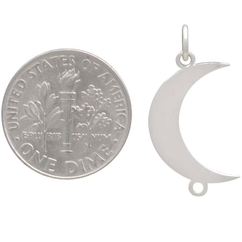 Sterling Silver Vertical Crescent Moon Link 24x12mm