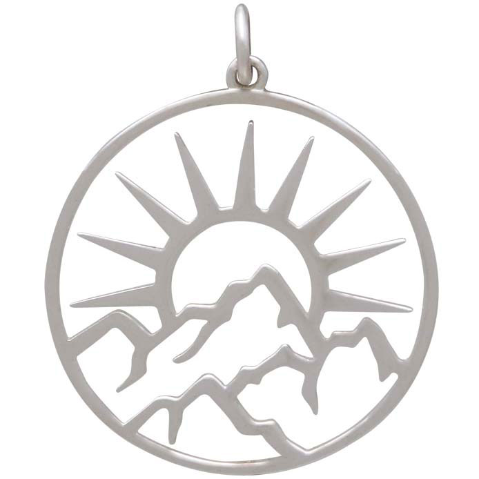 Sterling Silver Openwork Sun Pendant with Mountains 30x25mm