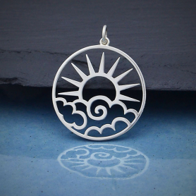Sterling Silver Openwork Sun Pendant with Clouds 30x25mm