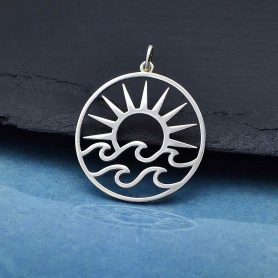 Sterling Silver Openwork Sun Pendant with Waves 30x25mm