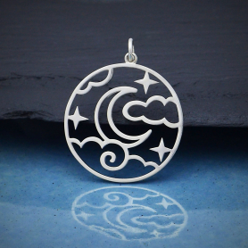Sterling Silver Openwork Night Sky Pendant 30x25mm