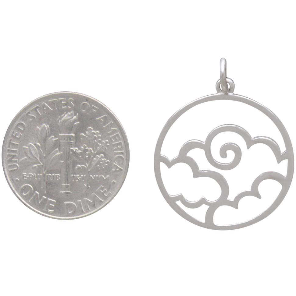Sterling Silver Openwork Air Element Charm 25x20mm