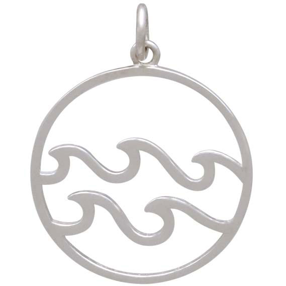 Sterling Silver Openwork Water Element Charm 25x20mm