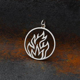 Sterling Silver Openwork Fire Element Charm 25x20mm