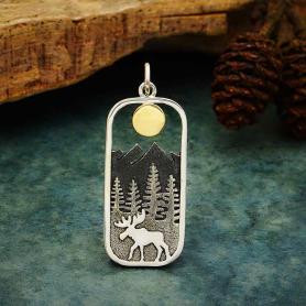 Sterling Silver Moose Pendant with Bronze Sun 33x13mm