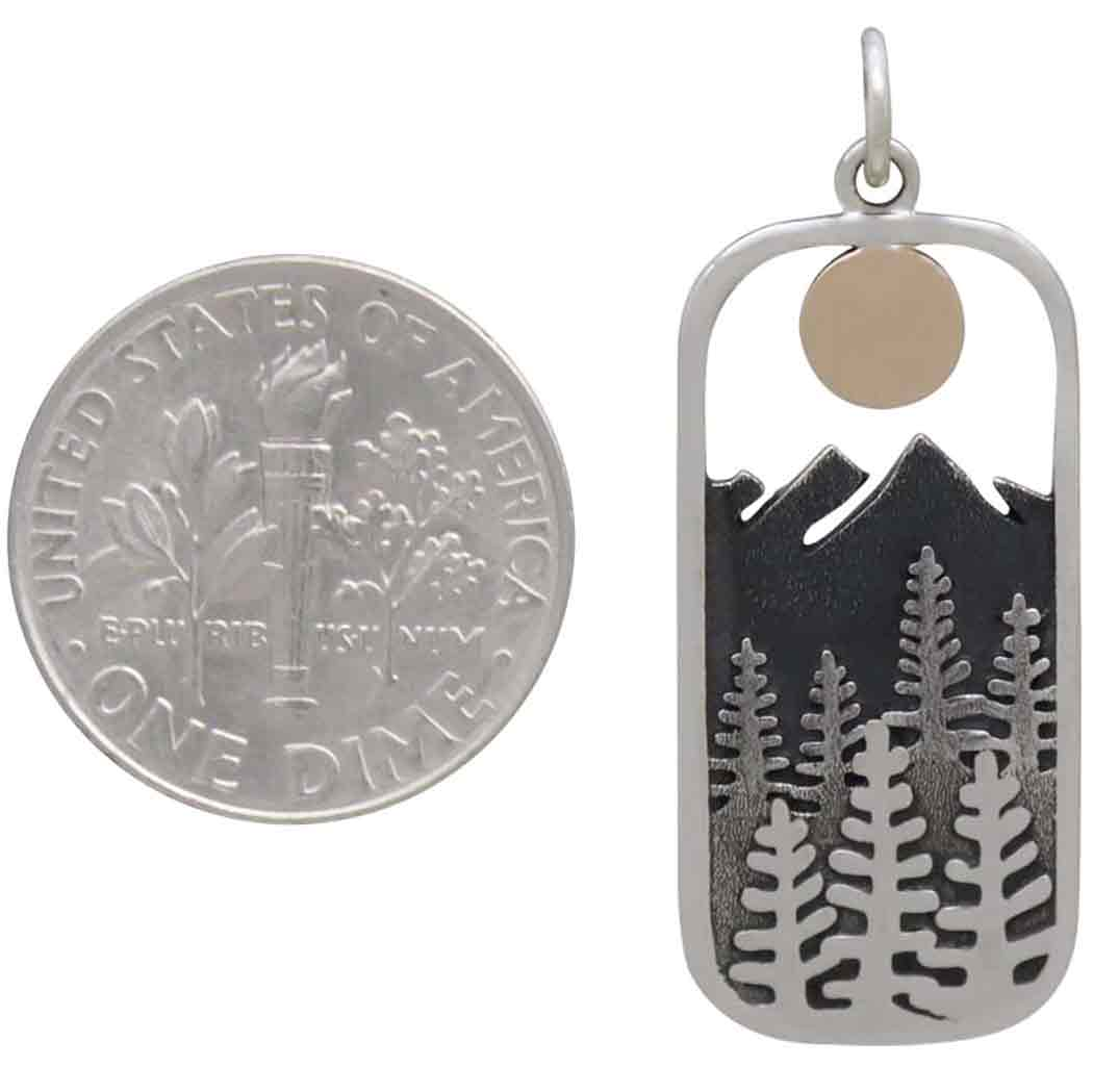 Silver Rectangle Tree Pendant with Bronze Sun 33x13mm