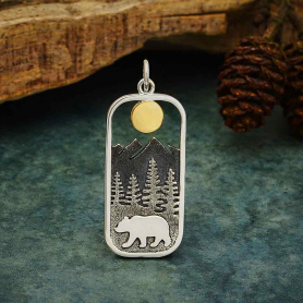 Sterling Silver Rectangle Bear Charm with Bronze Sun 33x13mm