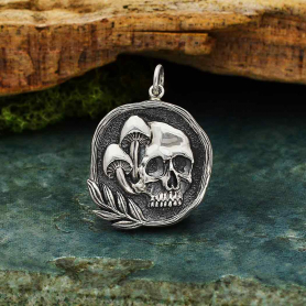Sterling Silver Skull Pendant with Mushrooms 27x20mm