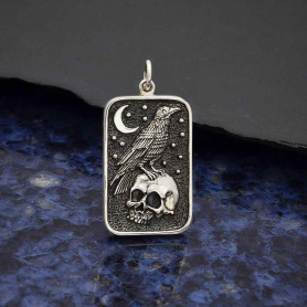 Sterling Silver Skull and Raven Pendant 29x15mm