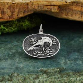 Sterling Silver Flower and Raven Skull Pendant 20x23mm