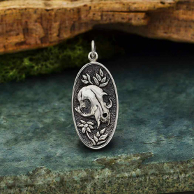 Sterling Silver Flower and Cat Skull Pendant 30x13mm