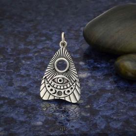 Sterling Silver Ouija Planchette Pendant  25x15mm