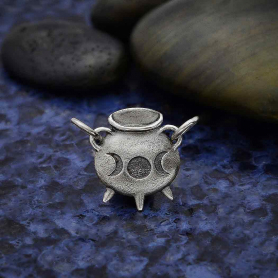 Sterling Silver Witch Cauldron Charm Link 14x19mm