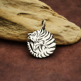Sterling Silver Curled Cat Charm 21x16mm