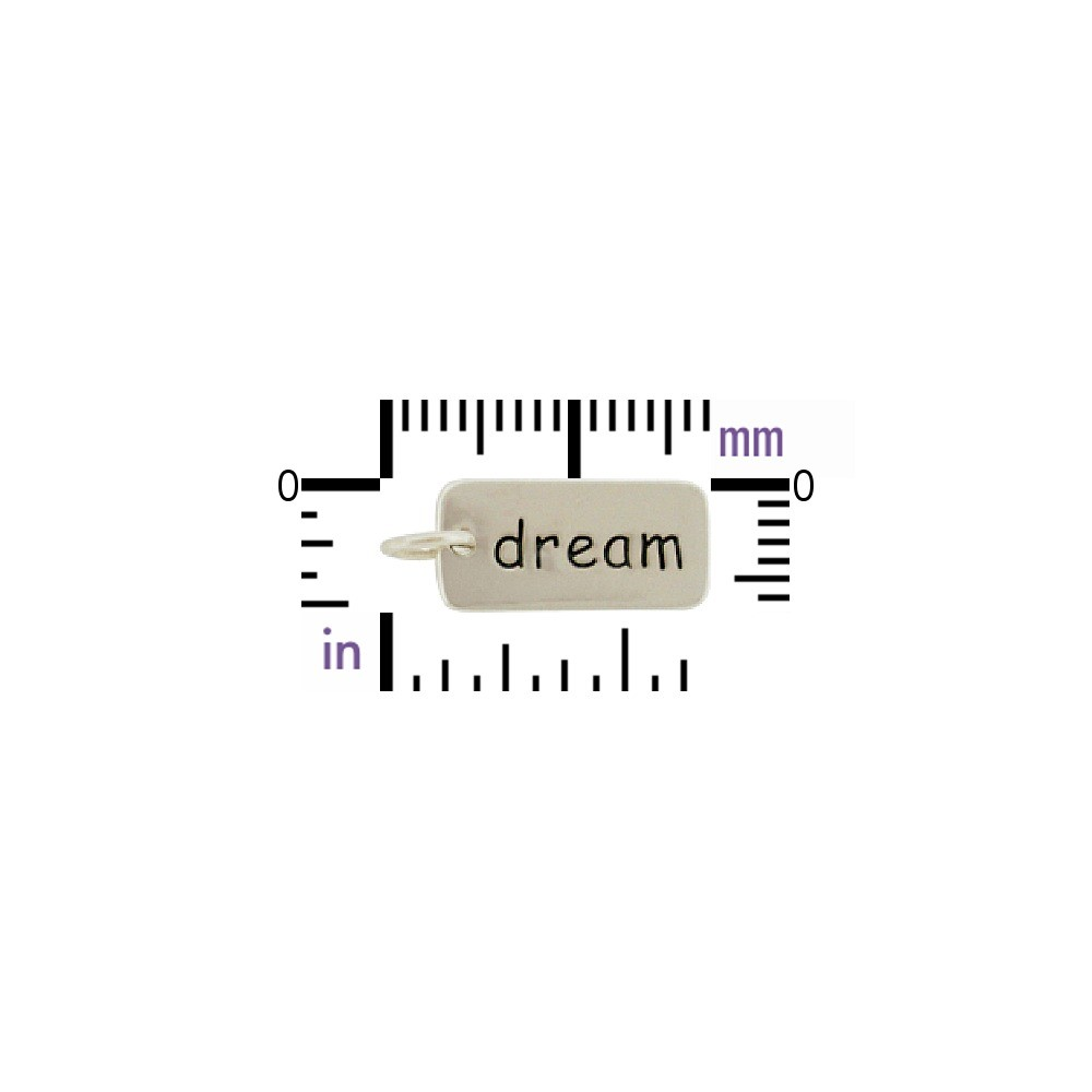 Sterling Silver Word Charm - Dream 18x7mm